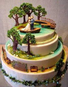 Bride and Groom at the Tropics Wedding Cake
