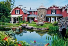 Dream home for me! Love love love barn themed homes. Way to go Barbara Streisand! Dream Barn, My Dream Home, Dream Homes, Dream Life, Barbara Streisand, Villa, Rich Home, Celebrity Houses, The Ranch