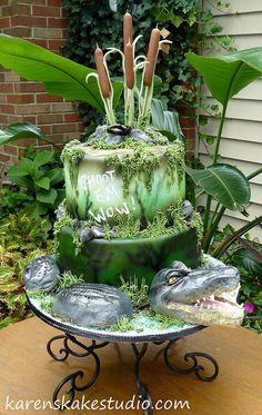 I hope you enjoy these amazing ALLIGATOR CAKE ideas. You will find image sources be. Crazy Cakes, Fancy Cakes, Cute Cakes, Yummy Cakes, Alligator Cake, Alligator Party, Take The Cake, Love Cake, Birthday Cakes