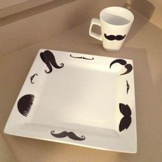 Mustache plate and mug using a black sharpie and baking at 350 degrees for 30 minutes! Voila!
