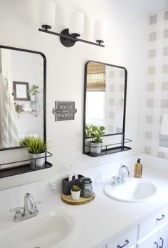 Beautiful Modern Farmhouse Guest Bathroom Makeover - ORC Week 6 - A Heart Filled. Beautiful Modern Farmhouse Guest Bathroom Makeover - ORC Week 6 - A Heart Filled Home Bathroom Renovations, Home Remodeling, Bathroom Makeovers, Decorating Bathrooms, Modern Farmhouse Bathroom, Farmhouse Décor, Modern Bathroom Decor, Antique Farmhouse, Bathroom Interior