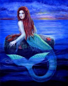 Red Hair Mermaid  with blue tail in water art
