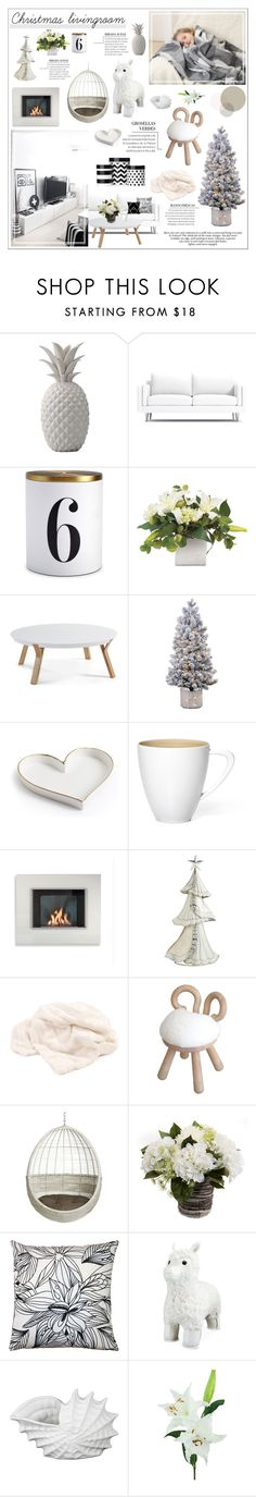 """Christmas living room"" by honey-beans-xo on Polyvore featuring interior, interiors, interior design, дом, home decor, interior decorating, Bloomingville, L'Objet, CB2 и Pillow Decor"