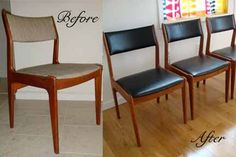 design-art-life: How To Reupholster and Repair Danish Modern Chairs Wooden Dining Room Chairs, Mid Century Dining Chairs, Modern Dining Chairs, Dining Set, Retro Office Chair, Office Chairs, Lounge Chairs, Desk Chairs, Office Decor