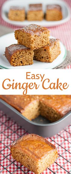 Easy Ginger Cake – Egg and Dairy Free! This easy ginger cake is delicious, and made entirely from store cupboard ingredients. Simple put all the ingredients into a mixer and whizz. Vegan too. Brownie Desserts, Oreo Dessert, Mini Desserts, Vegan Desserts, Vegan Recipes, Dessert Recipes, Egg Free Desserts, Healthy Cake Recipes, Easy Baking Recipes