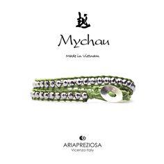 Mychau - Bracciale 2 giri Vietnam originale realizzato con pietre naturali Ematite Placcata (Argento) su base col. Verde Chiaro