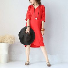 New women 3/4 sleeve red casual pockets v neck loose pullover cotton dresses