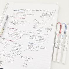 mildliners: red,dark blue, grey + muji black gel pen #maths notes