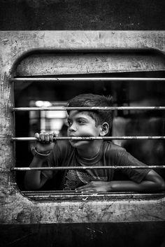 Boy on train by Henrik_Ladegaard-Pedersen Indian Photography, Couple Photography Poses, Dark Photography, Photography Women, Creative Photography, Black And White Photography, Children Photography, Portrait Photography, Street Photography People