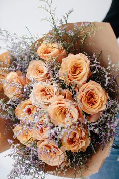51 Ideas Flowers Bouquet Gift Floral Arrangements Brown Paper For 2019 Green Gifts, Wedding Bouquets, Wedding Flowers, Bouquet Flowers, Paper Flowers, Orange Rose Bouquet, Gerbera Wedding, Gift Flowers, Flowers Uk