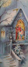 #677 60s GLITTERED Church Window, Vintage Christmas Card-Greeting