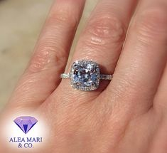 White Sapphire and Diamond Platinum Engagement Ring | 3ctw | VVS VS quality | In Stock | Cushion Cut | Halo | Size 8