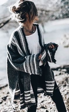#fall #outfits women's gray and black cardigan