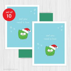 cute santa owl christmas card boxed set by sunnydovestudio #christmas #holidays #cards #handmade #cute #kawaii #greetingcards #santa #owl #happyholidays #love #etsy