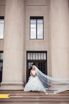 KC Wedding Photography: Bride, Long veil, Coral Flowers