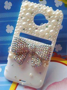 HTC Evo 4G LTE Sprint Handmade Charms Phone Case Bling Sparkle Bowknot Pearls Rhinestones