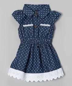 Loving this Navy Denim Dress with Scallop Hem on #zulily! #zulilyfinds