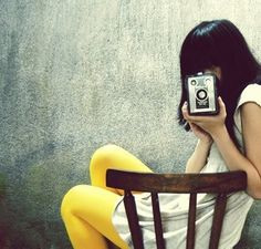 Girl with Camera | Yellow Tights | Hosiery