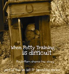 PlayDrMom shares her personal experience with difficulties in potty training and includes many ideas on ways to address the issue.