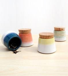Small Ceramic Spice Jars, Set of 4 by Stuck in the Mud Pottery on Scoutmob