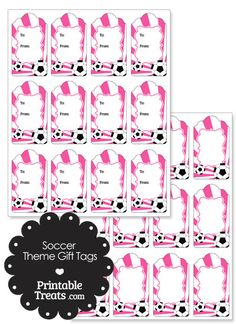 Pink Sunburst Soccer Party Gift Tags from PrintableTreats.com