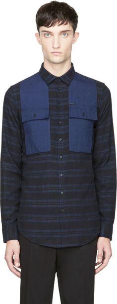 Dsquared2: Blue & Black Flannel Color Block Shirt   SSENSE
