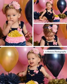 Adelyn's Navy, Pink and Gold Cake Smash Session   11 Sixteen Photography, cake, cake smash session, photographer, baby photography, studio, first birthday, baby girl, navy and pink, navy and gold, gold and pink, balloons, party, inspiration