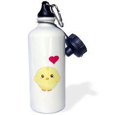 3dRose Cute yellow chick with red love heart - sweet kawaii anime cartoon - adorable round baby bird, Sports Water Bottle, 21oz