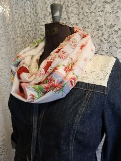 Oh, this is clever! An infinity scarf made out of vintage hankies!