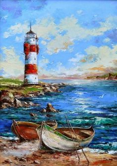 Landscaping watercolor boat Ideas for 2020 Watercolor Landscape, Landscape Art, Landscape Paintings, Watercolor Paintings, Lighthouse Painting, Boat Painting, Lighthouse Pictures, Boat Art, Seascape Paintings