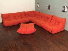 Orange Microfibre Togo Sofa Set by Michel Ducaroy for Ligne Roset, 1974 for sale at Pamono
