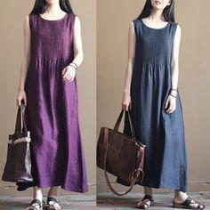 Purple Vintage cotton linen tunics pullover long dresses fashion summer clothes