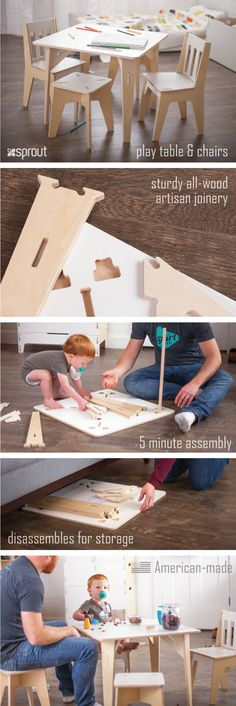 The wooden study table for kids is constructed with durable Baltic birch plywood, and sturdy artisan joinery. Kids love playing at their table and chair sets, and parents love how easy to assemble, disassemble, and store they are.  Learn more about the kids wooden table and chairs at Sprout.