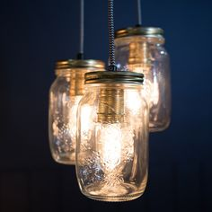 Cluster Of Three Preserve Jars Pendant Light   Culinary Concepts