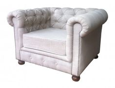 If only this was in grey. Or navy. Or emerald. Or any colour other than cream... :( Chesterfield One Seater Buttoned sofa in Natural Linen Fabric. from Ramika's | Made By GrupoJK | BOUF