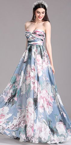 [USD 129.99] eDressit Printed Floral Strapless Pleated Evening Dress (X07154405)