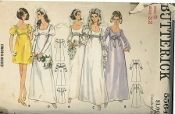An original ca. 1966 Butterick pattern 5564.  Junior and Misses' One-Piece Bridal Dress. High waisted dress in evening or street length has fitted bodice with scoop neckline and gathered skirt. Sleeve variations. Lace or ribbon trim.