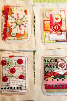 scraps of fabric, sentiments, use as cards
