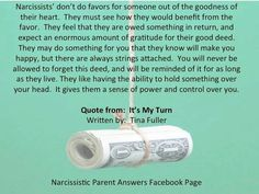I experienced this one! They insist on doing something for you and then throw it in your face years and years later! Things you never even asked for. Narcissistic Mother, Narcissistic Behavior, Narcissistic Sociopath, Narcissistic Personality Disorder, Narcissistic People, Antisocial Personality, Personality Types, Dark Triad, Victim Blaming