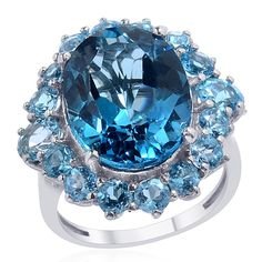 Liquidation Channel | London Blue Topaz and Electric Blue Topaz Ring in Platinum Overlay Sterling Silver (Nickel Free)
