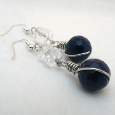 Blue Earrings Gemstone Earrings Blue and White by adiencrafts