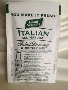 """Here is a recipe for """"copycat"""" Good Seasons Italian Dressing Mix. It makes a large batch of dried ingredients to make several recipes of the dressing.  Dry Mix  1 TBP garlic salt, 1 TBP onion powder, 1 TBP sugar, 2 TBP oregano, 1 tsp. pepper, 1/4 tsp. thyme, 1 tsp. basil, 1 TBP dried parsley, 1/4 tsp. celery salt, 2 TBP salt. Mix above together and store in airtight container. Dressing: 1/4 cup cider vinegar (I use white vinegar), 2/3 c. olive oil (I use canola), 2 TBP water, 2 TBP of dried…"""