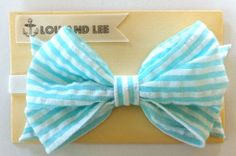 Baby headband bow - with vintage seersucker fabric. $16.00, via Etsy.