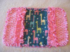 1 New Handmade Cute Giraffes Baby Girl Burp Cloth with Minky backing via Etsy