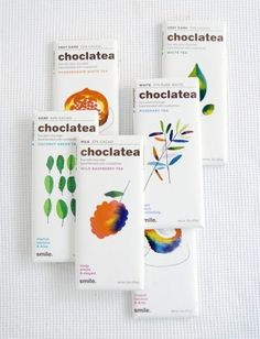 Choclatea Designed by Air Conditioned + Ann Field The combination of beautiful colourful watercolour illustrations and white packaging would ensure this packaging stands out on a shelf. Tea Packaging, Pretty Packaging, Brand Packaging, Design Packaging, Bottle Packaging, Product Packaging, Graphic Design Branding, Label Design, Package Design