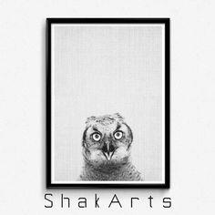 Owl Art Printable Owl Wall Print Woodland Owl Print by ShakArts