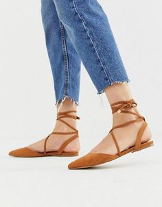 Buy ASOS DESIGN Lawful plaited tie leg pointed ballet flats in tan at ASOS. With free delivery and return options (Ts&Cs apply), online shopping has never been so easy. Get the latest trends with ASOS now. Pointed Ballet Flats, Ankle Boots Outfit Winter, Calf Boots, Brown Flat Shoes, Pointed Loafers, Asos, Ballet Clothes, Slingback Flats