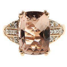 149-489- The Vault from Gems en Vogue 14K Rose Gold 5.76ctw Morganite & Diamond Ring - Size 9