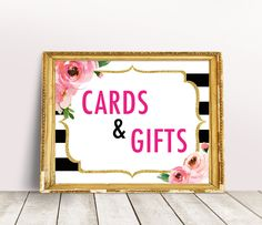 Cards and Gifts Sign, Kate Bridal Shower Sign, Spade Party decorations, Kate Baby Shower Gift Table Sign, Black and White Bachelorette Party Bridal Shower Welcome Sign, Bridal Shower Signs, Bridal Shower Games, Bridal Shower Decorations, Bridal Shower Invitations, Kate Spade Party, Kate Spade Bridal, Simple Bridal Shower, Bridal Shower Photos