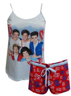 1D One Direction Band Members Shortie Pajamas, $25 Perfect for every One Direction fan! These shortie pajamas for ladies are 100% cotton. They feature the 1D band members on a pretty pale blue background. Camisole style top has adjustable straps. Shorts have a repeating pattern of the 1D logo with an elastic and drawstring waist. These fun jammies are machine washable and easy care. Junior cut.